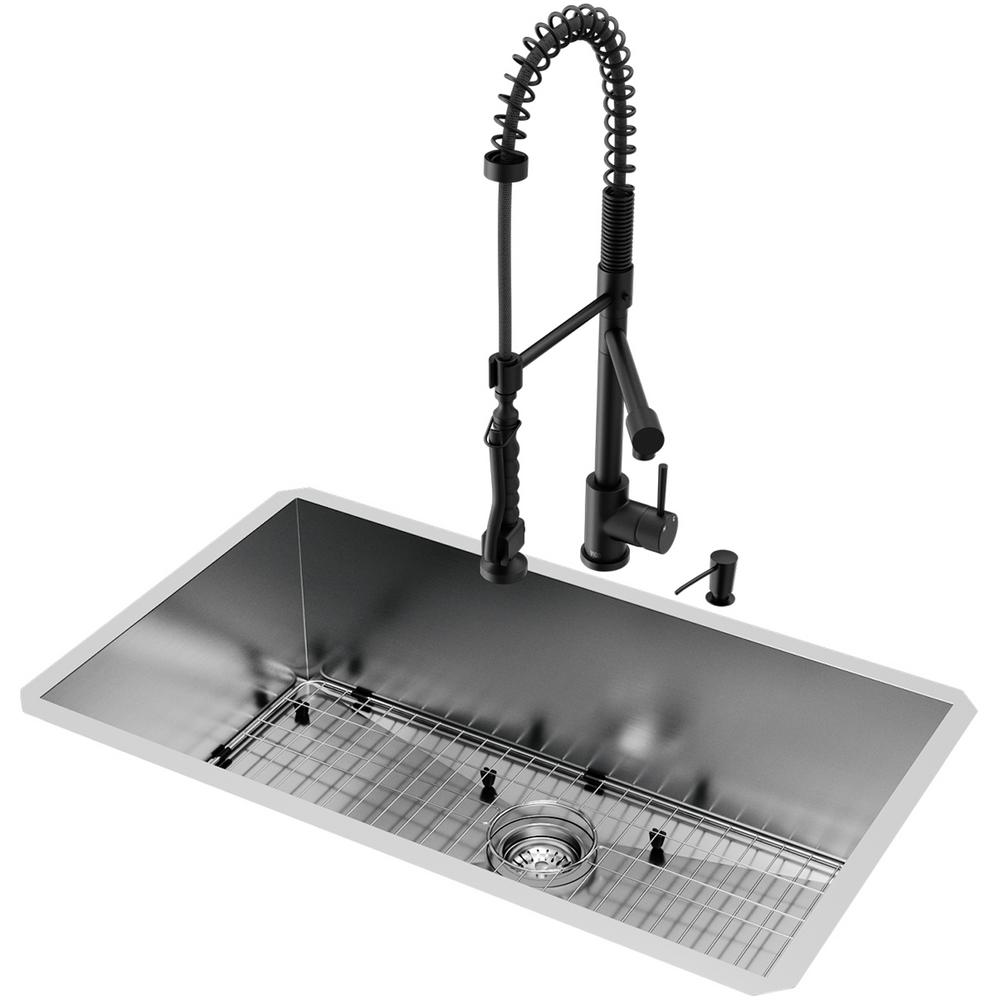 VIGO All-in-One Undermount Stainless Steel 32 in. 0-Hole Single Bowl  Kitchen Sink with Faucet in Matte Black