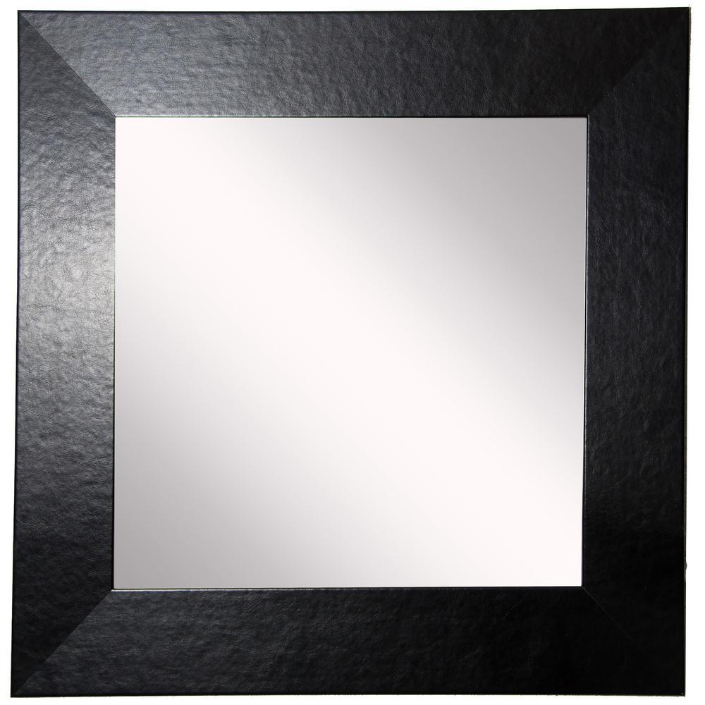 30 in. W x 30 in. H Framed Square Bathroom Vanity Mirror in Black