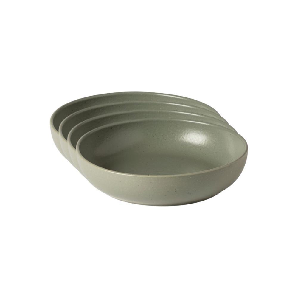 Pacifica 33 fl. oz. Artichoke Green Stoneware Pasta Bowl (Set of 4)