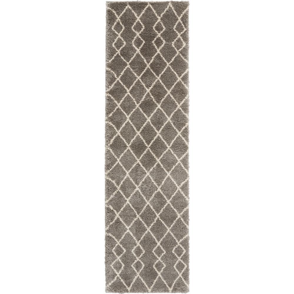Geometric Shag Grey 2 ft. x 8 ft. Plush Hallway Runner Rug