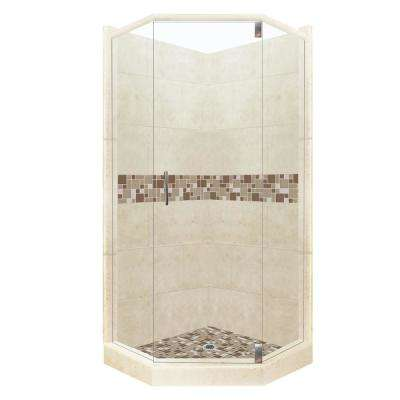Tuscany Grand Hinged 42 in. x 48 in. x 80 in. Right-Cut Neo-Angle Shower Kit in Desert Sand and Satin Nickel Hardware