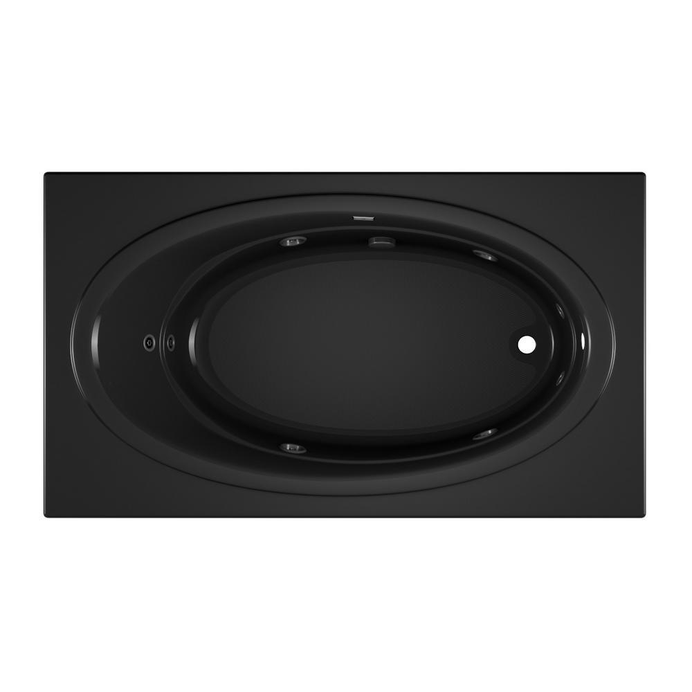 NOVA 72 in. x 42 in. Acrylic Right-Hand Drain Rectangular Drop-In Whirlpool Bathtub with Heater in Black