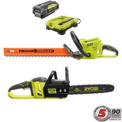 40-Volt Lithium-Ion Cordless Hedge Trimmer and Brushless Chainsaw Combo Kit (2-Tool) - 2.6 Ah Battery & Charger Included