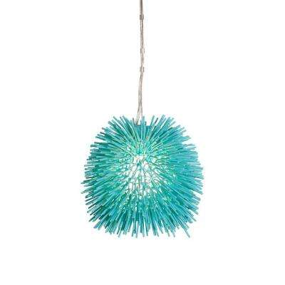 Urchin 1-Light Aqua Velvet Mini Pendant