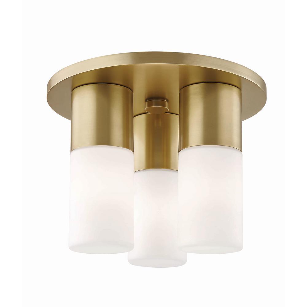 Lola 3-Light Aged Brass LED Flushmount with Opal Glass Shade