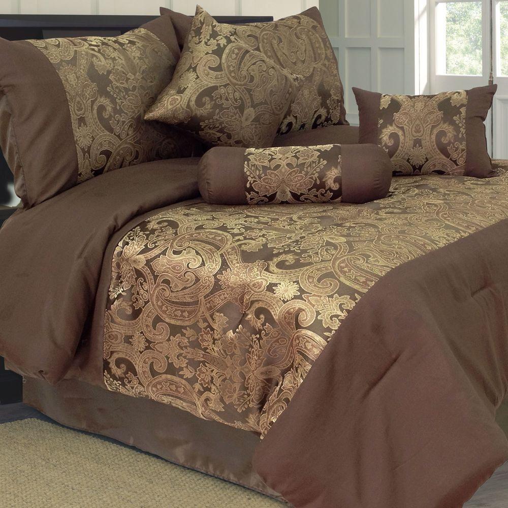 Lavish Home Queen Bailey Jacquard Comforter Set (7-Piece)