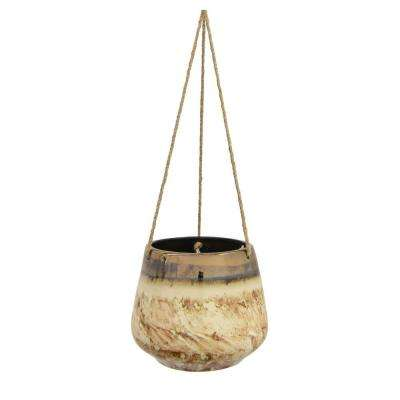 5 in. Ceramic Hanging Planter in Bronze