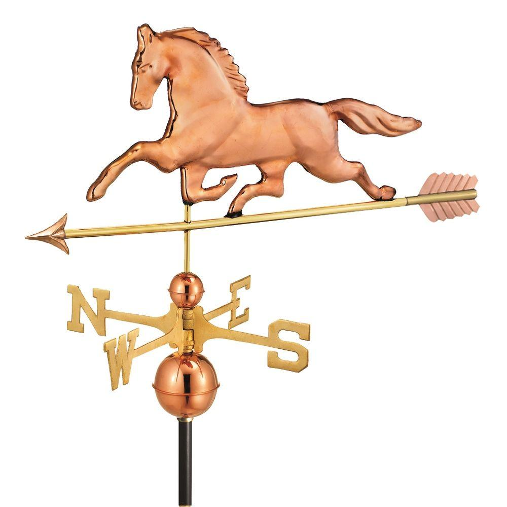 Good Directions Patchen Horse Weathervane with Arrow in Polished Copper