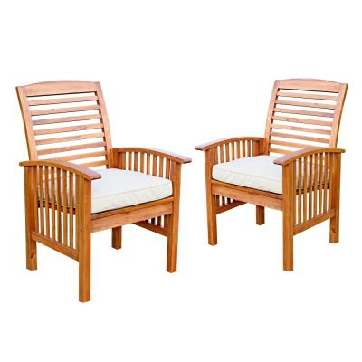 Boardwalk Brown Acacia Outdoor Dining Chairs with White Cushions (Set of 2)