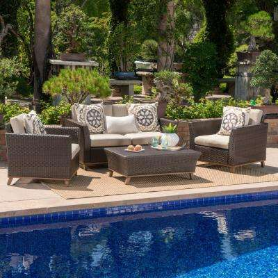 Mixed Brown 4-Piece Wicker Patio Conversation Set with Mixed Beige Cushions