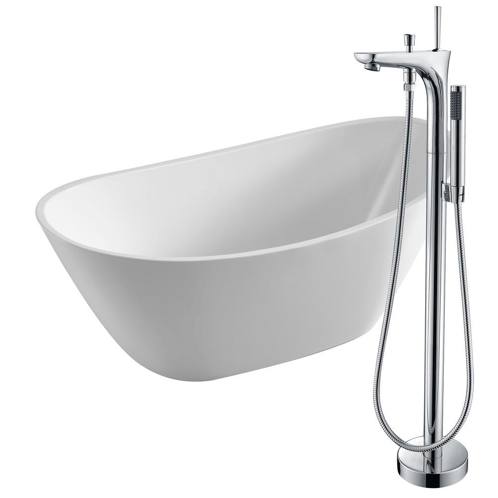Cross 67 in. Acrylic Flatbottom Non-Whirlpool Bathtub in White with Kase