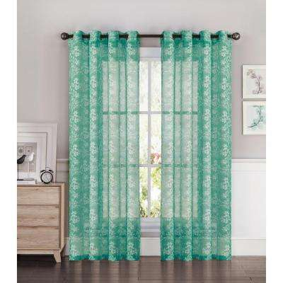 Sheer Botanica Faux Linen 54 in. W x 84 in. L Semi-Sheer Grommet Extra Wide Curtain Panel in Turquoise