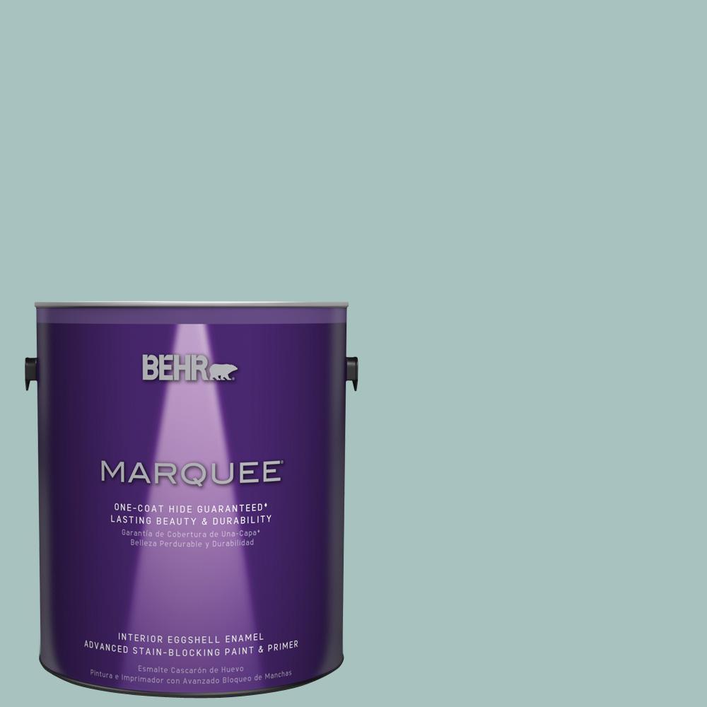 1 gal. #T17-08 Polished Aqua Eggshell Enamel Interior Paint