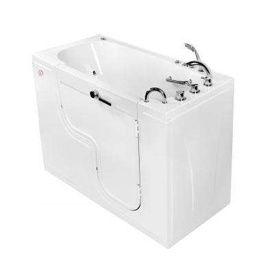 Wheelchair Transfer 60 in. Acrylic Walk-In Whirlpool and Air Bath Bathtub in White, Faucet, Heated Seat, RHS Dual Drain