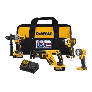Dewalt 20-Volt MAX XR Lithium-Ion Cordless Combo Kit (4-Tool) with (2) Batteries 5Ah, Charger and Contractor... by DEWALT