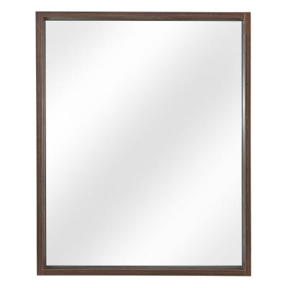 26 in. W x 32 in. H Framed Rectangular  Bathroom Vanity Mirror in Walnut