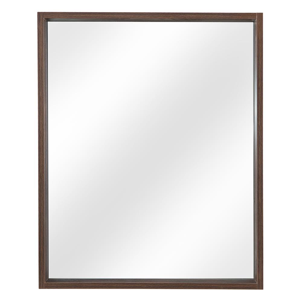 Shiri 26 in. W x 32 in. H Framed Wall Mirror in Walnut
