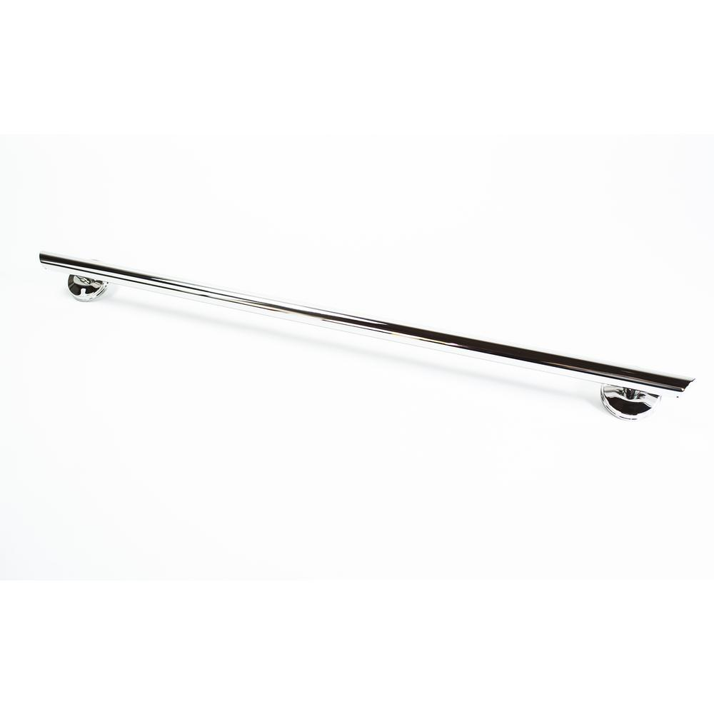 Grabcessories 36 in. x 1.25 in. Straight Decorative Grab Bar with Long Grip and Angled Ends in Chrome
