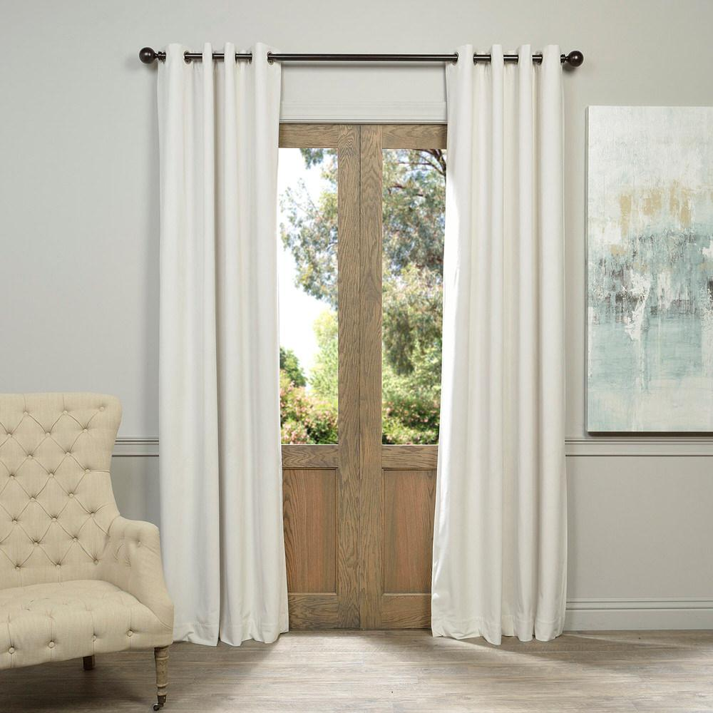 Exclusive Fabrics & Furnishings Blackout Signature Off White Grommet Blackout Velvet Curtain - 50 in. W x 120 in. L (1 Panel)