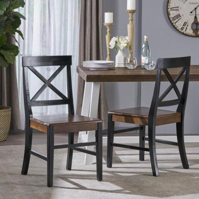 Roshan Black and Walnut Acacia Wood Dining Chairs (Set of 2)