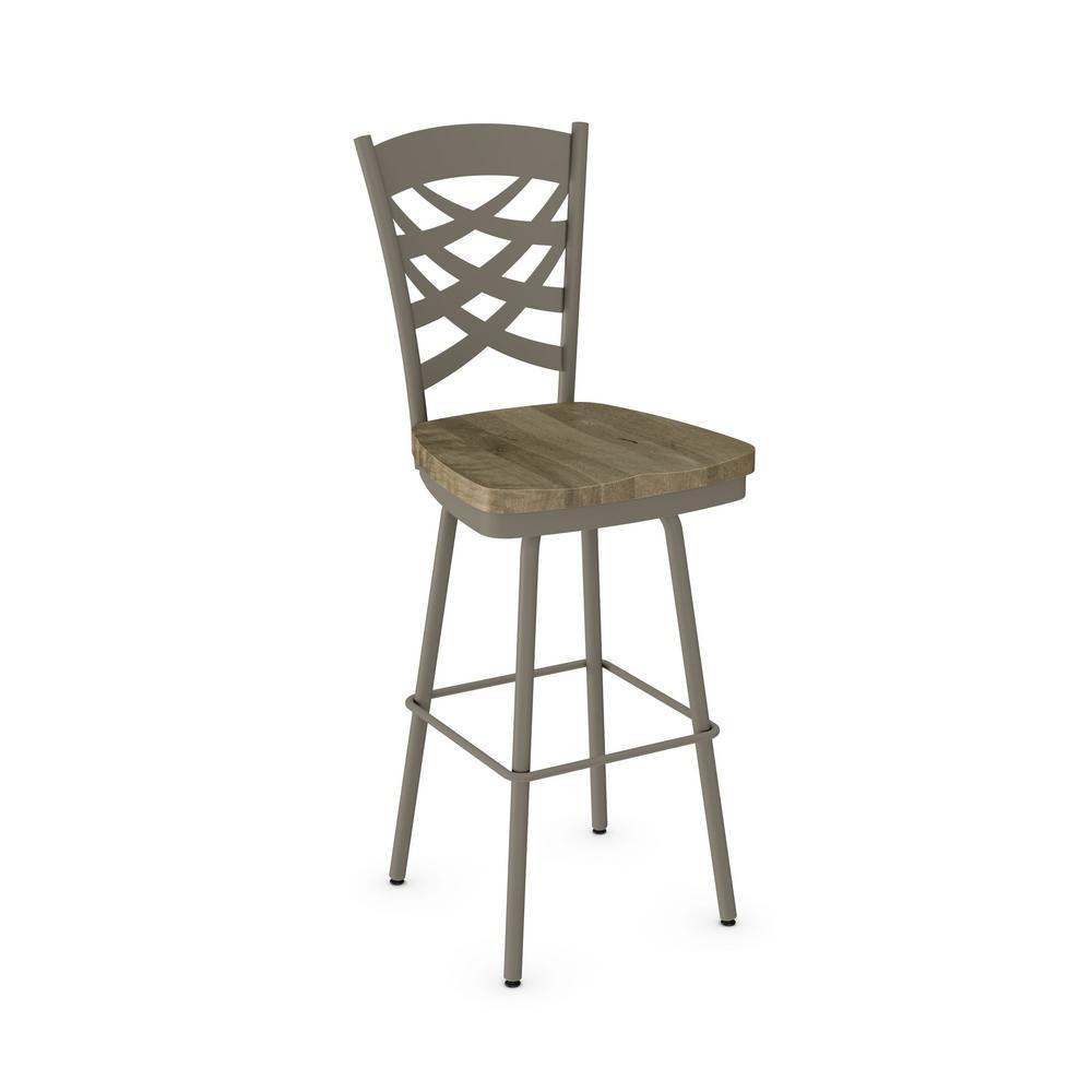 Weaver 26 In Light Grey Metal Beige Wood Counter Stool 41277 26