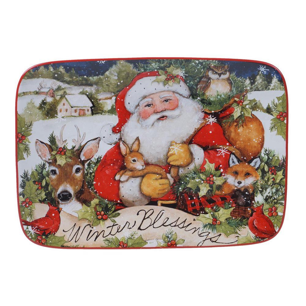 14 in. Magic of Christmas Santa Multicolored Earthenware Rectangular Platter