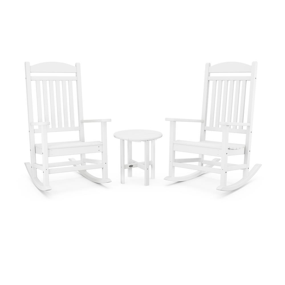 Grant Park 3-Piece White Plastic Outdoor Rocking Chair Set