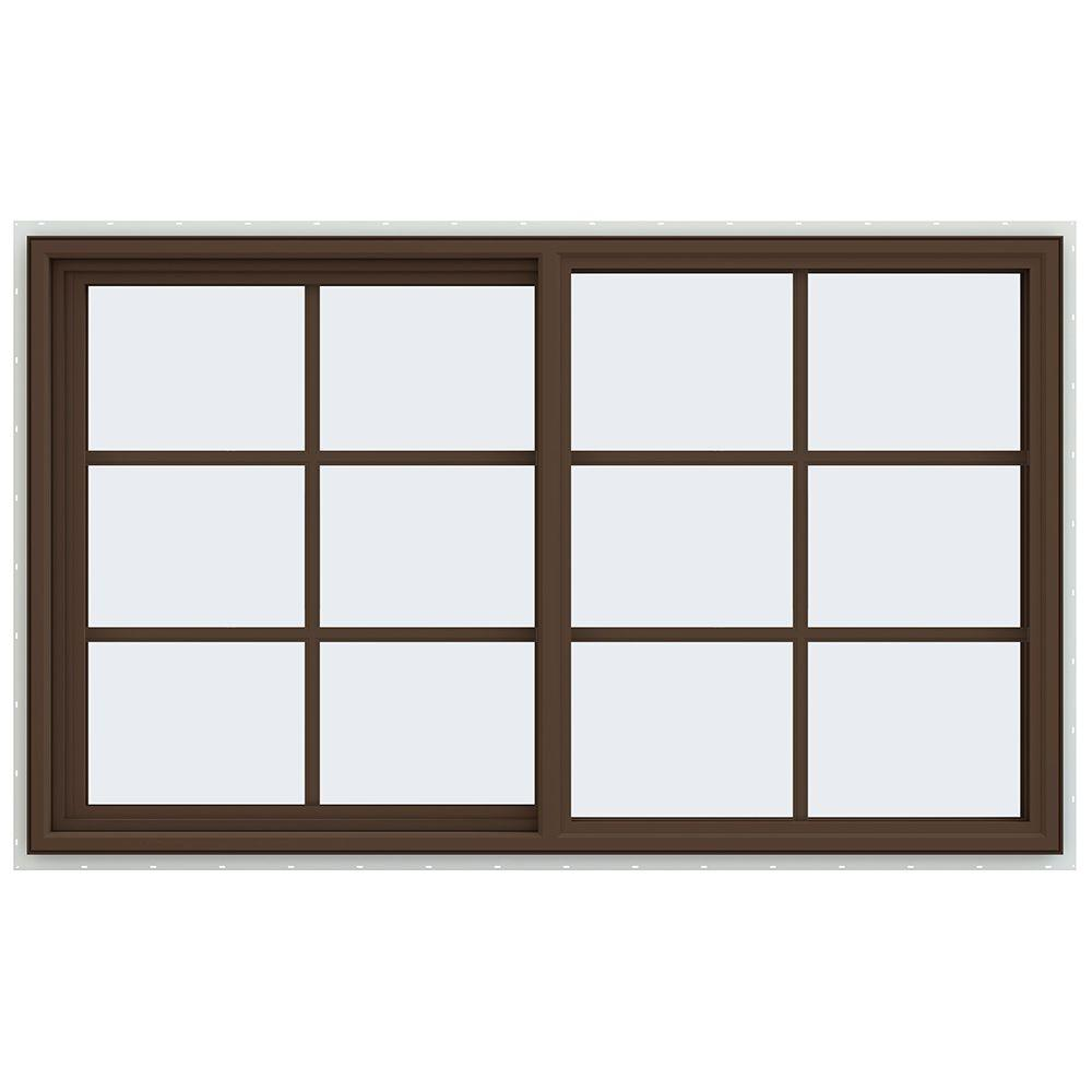 JELD-WEN 59.5 in. x 35.5 in. V-4500 Series Left-Hand Sliding Vinyl Window with Grids - Brown