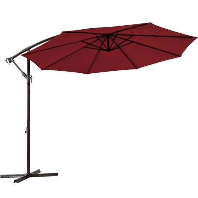 10 ft. Cantilever Offset Yard Garden Outdoor Patio Umbrella in Burgundy with 8 Ribs