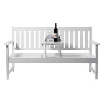 Wooden Patio Garden Park Outdoor Yard Bench With Middle Pop-Up Foldable Table, White