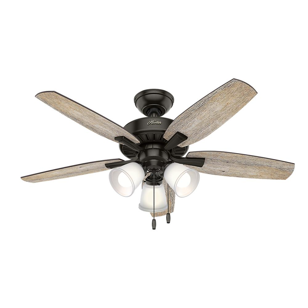 Hunter Oakfor 48 In Led Indoor Le Bronze Ceiling Fan With Light