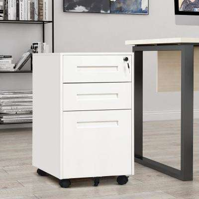 White 3-Drawer Mobile File Cabinet Fully Assembled Except Wheels