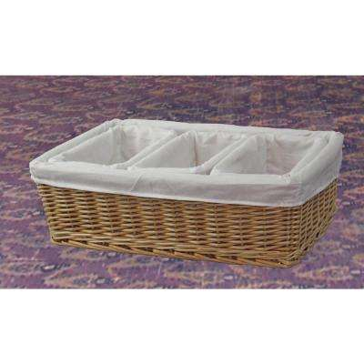 18 in. x 5.5 in. Natural Willow Basket with Fabric Lining in 3-Cube Organizer