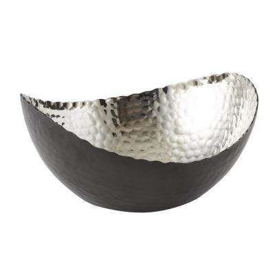 7.25 in. by 6.5 in. Hammered Eclipse Oval Bowl in Black and Silver