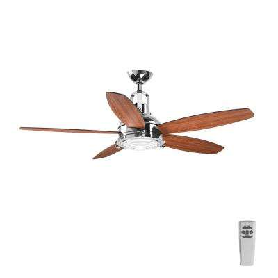 Kudos 52 in. LED Indoor Polished Chrome Ceiling Fan with Light Kit