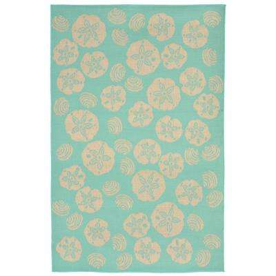 Baxter Sand Dollar Turquoise 5 Ft X 8 Indoor Outdoor Area Rug