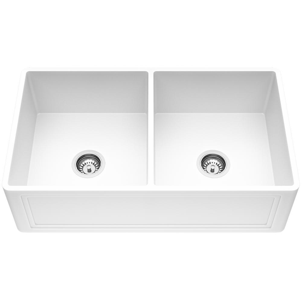 Crown Farmhouse/Apron-Front Matte Stone 33 in. Double Bowl Kitchen Sink In Matte White