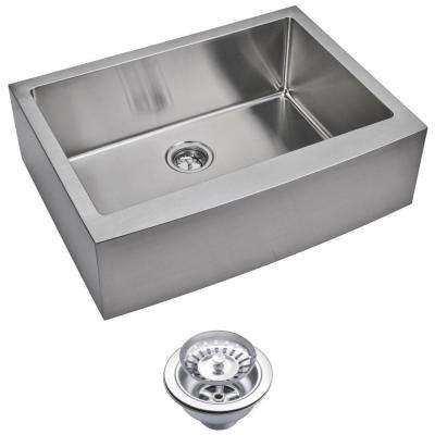 Farmhouse Apron Front Small Radius Stainless Steel 30 in. Single Bowl Kitchen Sink with Strainer in Satin