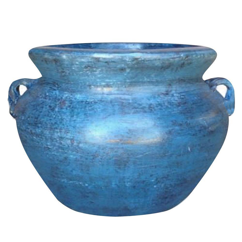 14 in. Dia Smooth Handle Ocean Azure Clay Pot