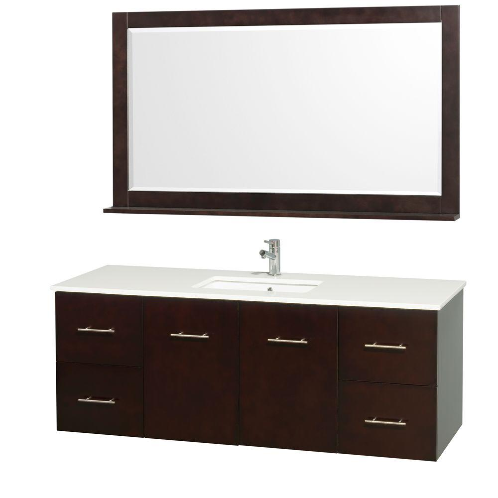 Wyndham Collection Centra 60 in. Vanity in Espresso with Man-Made Stone Vanity Top in White and Square Porcelain Undermounted Sink