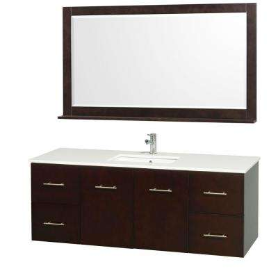 Centra 60 in. Vanity in Espresso with Man-Made Stone Vanity Top in White and Square Porcelain Undermounted Sink