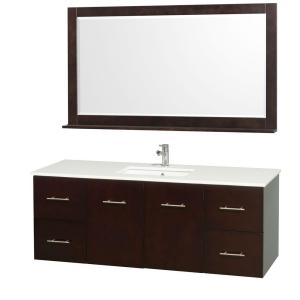 Wyndham Collection Centra 60 inch Vanity in Espresso with Man-Made Stone Vanity Top in White and Square Porcelain... by Wyndham Collection