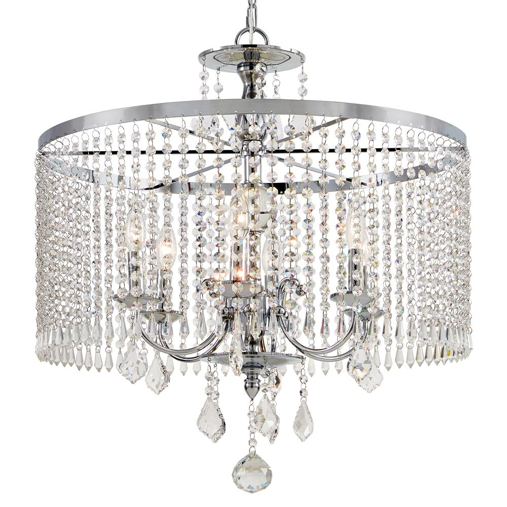 Fifth And Main Lighting 6 Light Polished Chrome Chandelier With K9