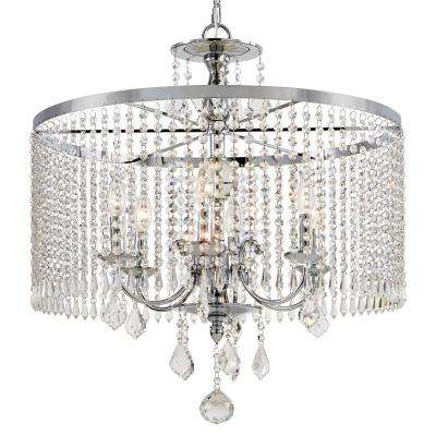 6-Light Polished Chrome Chandelier with K9 Crystal Dangles