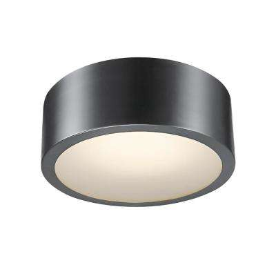 Edinburg Black Iron LED Integrated Flush Mount Ceiling Light with Frosted Glass Shade
