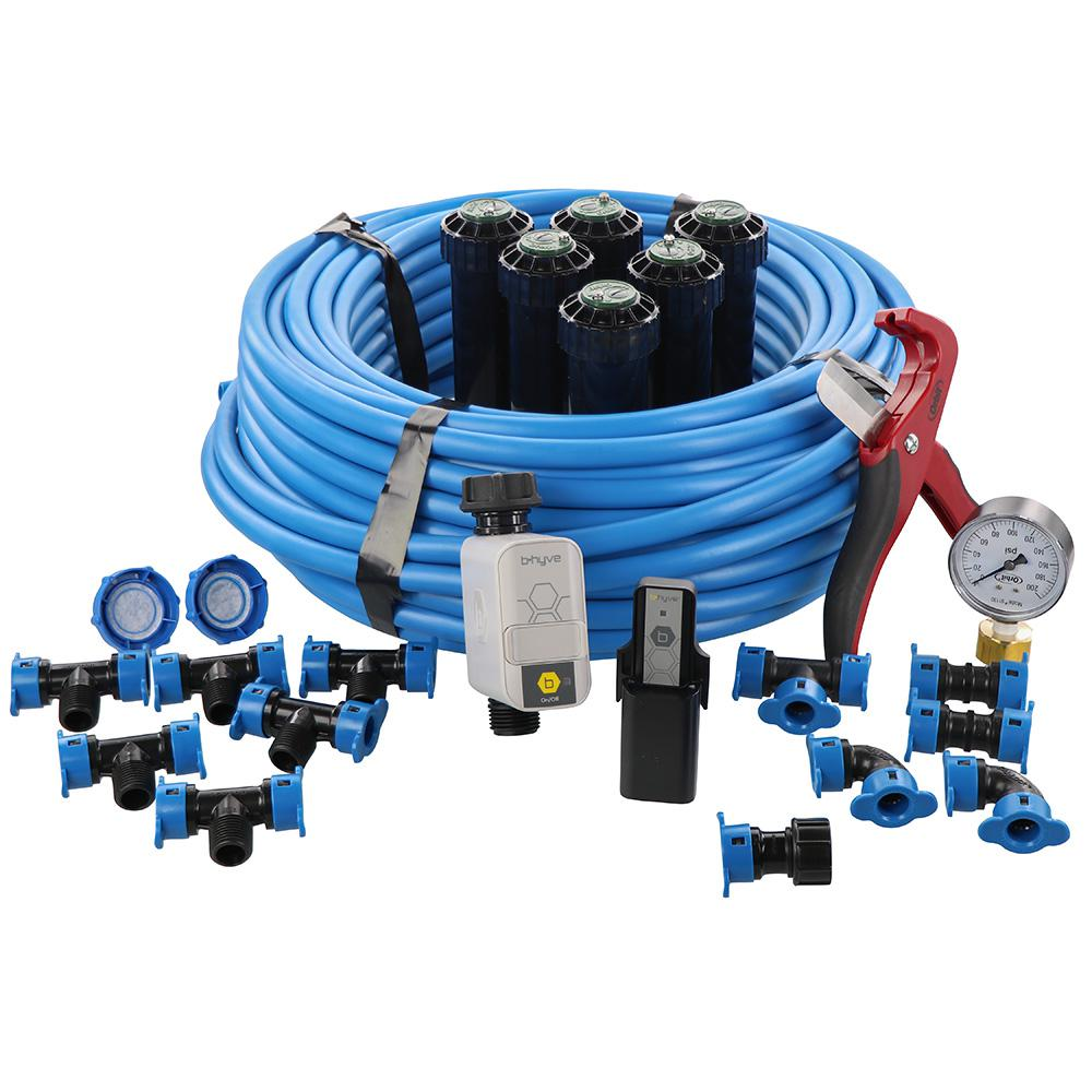 Orbit In-Ground Sprinkler System with 1/2 in  Blu-Lock Tubing System and  B-Hyve Smart Hose Faucet Timer with Wi-Fi Hub