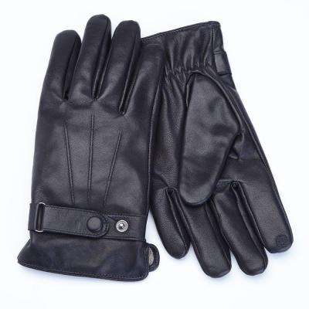 Premium Lambskin Men's Medium Black Leather Touchscreen Gloves