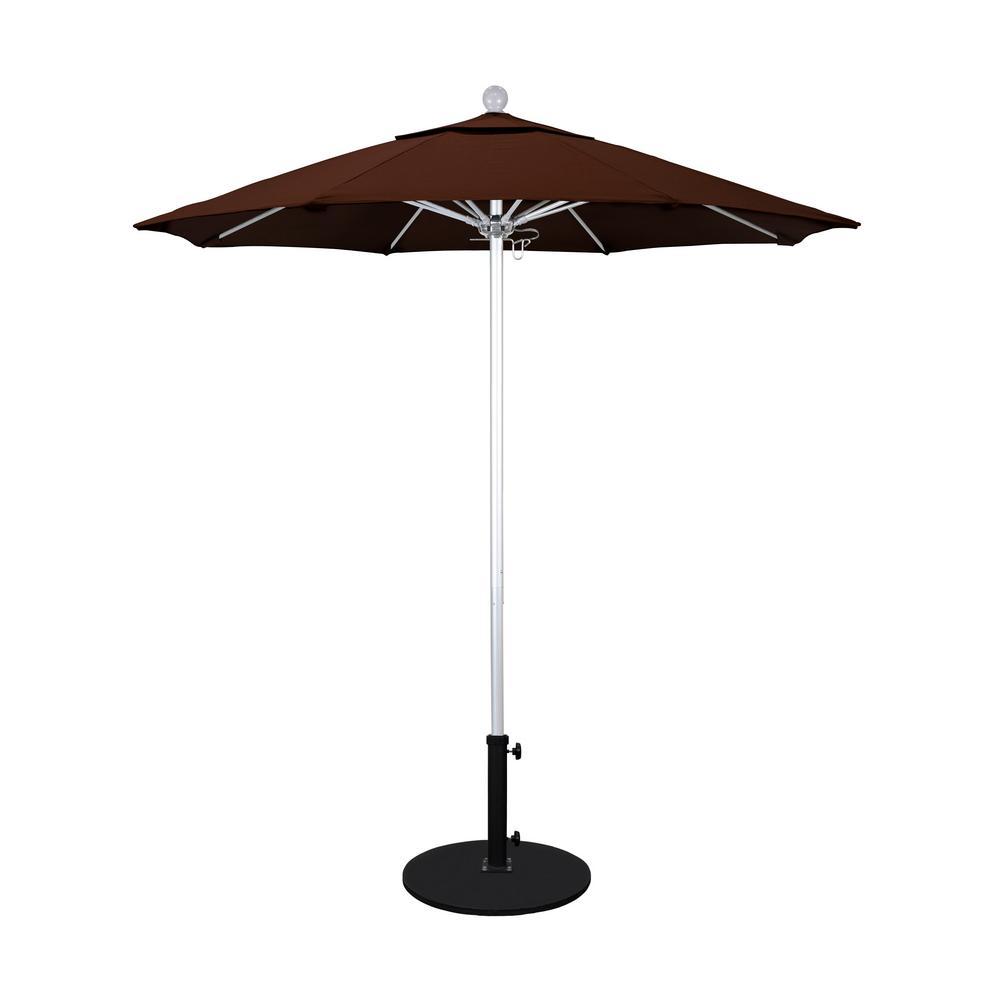 7.5 ft. Silver Anodized Aluminum Pole Market Fiberglass Ribs Push Lift Patio Umbrella in Bay Brown Sunbrella