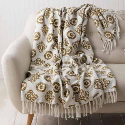 Medallion Gold Geometric Cotton Throw Blanket