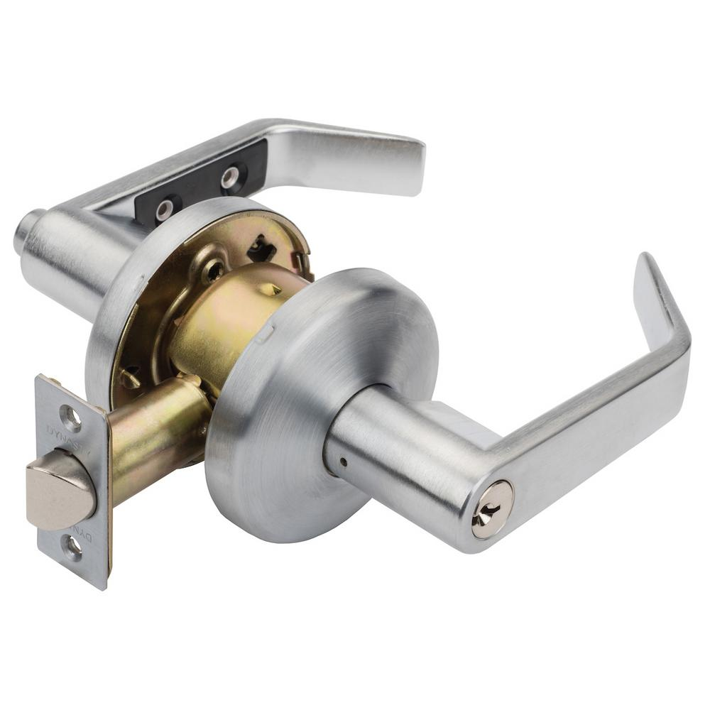Dynasty Hardware Austin Satin Chrome Commercial Grade Door Lever With Keyed Office Entry Door